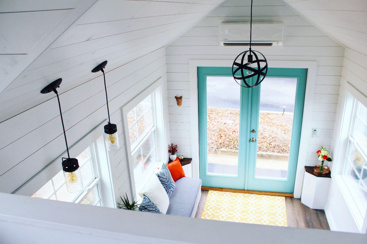 The Sprout from Mustard Seed Tiny Homes - living loom view from loft