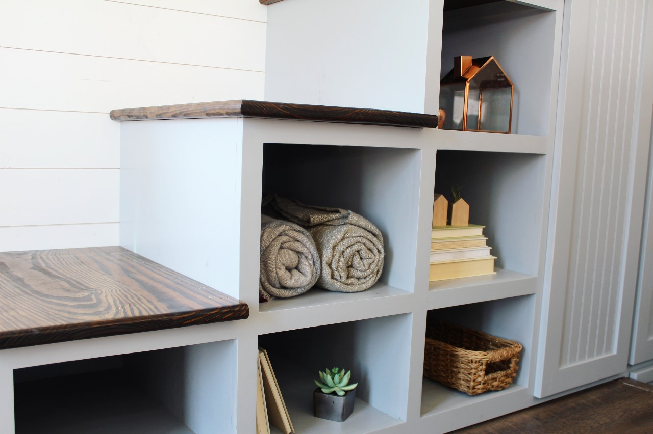 The Sprout from Mustard Seed Tiny Homes - staircase storage view