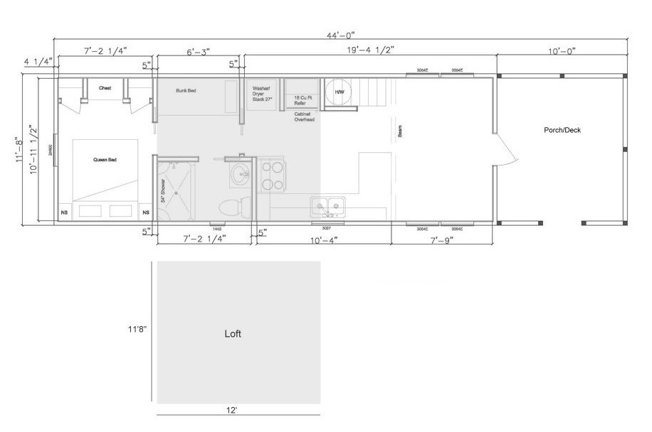 The Harvest Park Model Tiny House Floor Plan
