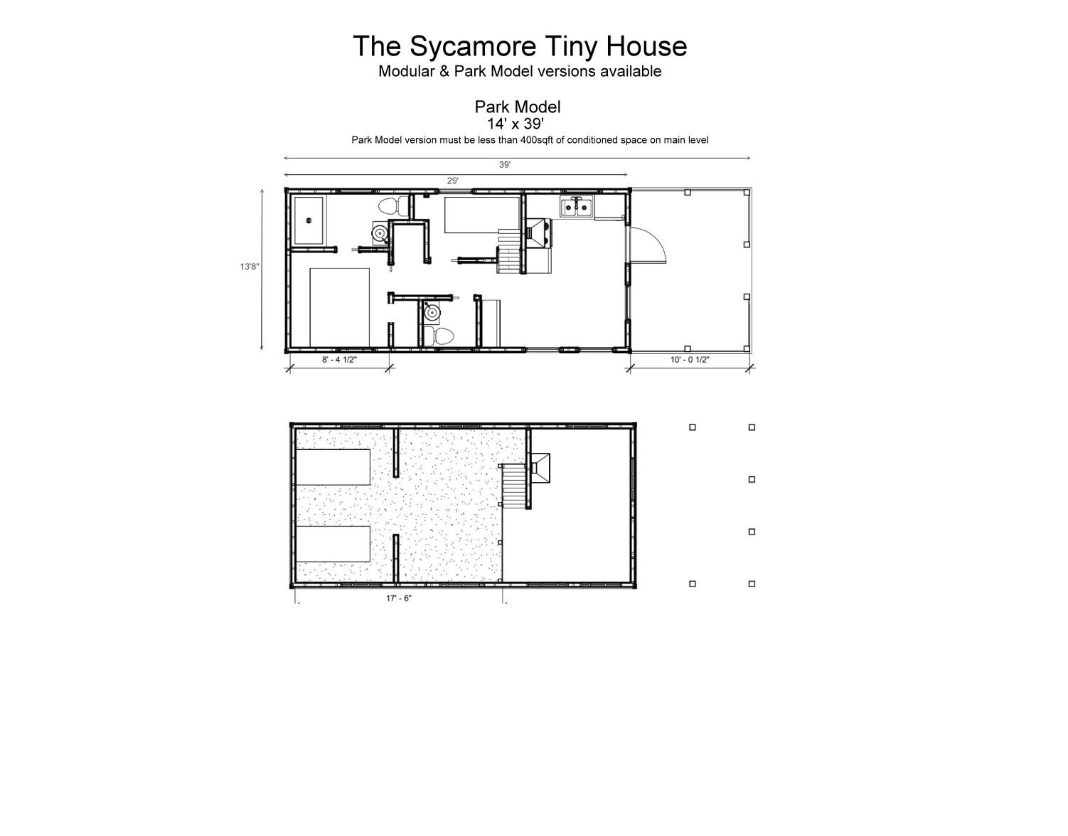 The Sycamore Park Model Tiny House - Floor Plan